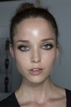 Dewy skin at Versace Fall 2013 - Backstage