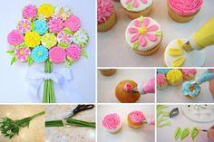 Pâques - Cupcakes - Bouquet de fleurs