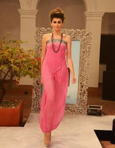 Sunset pink crepe-de-chine ombre embroidered hanky top (INR 3190) worn with crinkled silk harem pants (INR 3290)