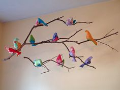 Love this... especially for a kid's room... not so sure I would sew each bird.  Maybe even shabby white birds would look cute in a main living area? I love birdies!
