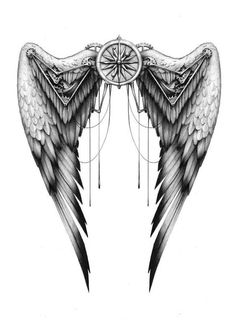 Wings commission by - Tattoos love . - Wings commission by – Tattoos love flower Best Picture For tatto - Back Tattoos, Future Tattoos, Love Tattoos, Body Art Tattoos, Tattoos For Guys, Tatoos, Tattoos Skull, Feather Tattoos, Chicano Angel Tattoo