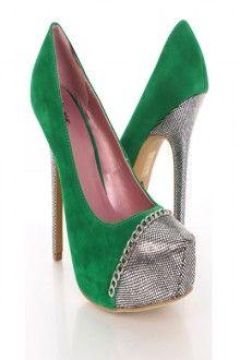 Green Velvet Faux Leather Chain Foil Closed Toe Platform Pump Heels