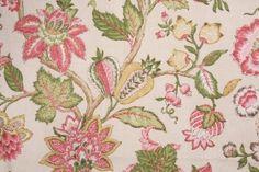 2.6 Yards Kaufmann Jacobean Printed Cotton Drapery Fabric in Raspberry