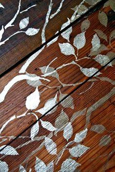 Ovelay of Branch & Leaves Stencil on Wood Floor-http://media-cache-ak0.pinimg.com/originals/a7/4b/7b/a74b7bfc2f27e06786d434244f79d78b.jpg