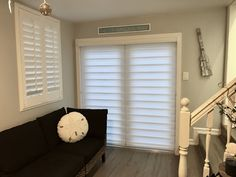 French Door with 2in1 Zebra Illusion with flat door casing trim next to plantation shutter door by Elite Decor Miami