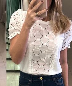 Dress Over Jeans, Blouse And Skirt, Lace Tops, Floral Tops, Diy Fashion, I Love Fashion, Blazer Outfits, Beautiful Blouses, Blouses For Women