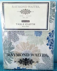 RAYMOND WAITES TABLECLOTH 60x120 GRAY BLUE GREEN BEIGE COTTON FLORAL  BEAUTIFUL #RaymondWaites