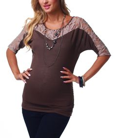 Take a look at this PinkBlush Maternity Brown Lace Accent Maternity Top & Necklace - Women on zulily today!