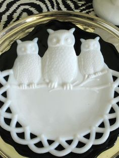 so perfect for halloween -owl white depression glass plate - what a special piece!