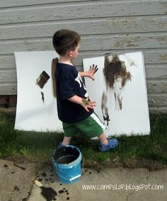 April 2016 (Toddlers)- Using White cloth, have the students paint using mud outside. Dress them in smocks and get paint brushes and mud ready. Using cloth allows the canvas to be washed and reused. Activities For Boys, Spring Activities, Sensory Activities, Learning Activities, Preschool Painting, Preschool Books, Mud Paint, Outdoor Play Spaces, Outdoor Fun