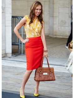 This is a great color combination! Love the yellow print & punch of red pencil skirt