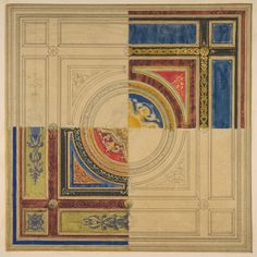 Jules-Edmond-Charles Lachaise | Design for a paneled ceiling with alternative decorations | The Metropolitan Museum of Art