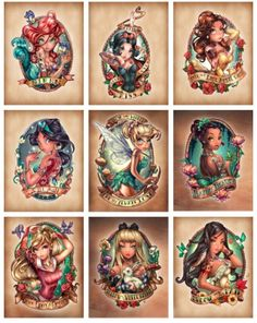 I can't explain how much I love the Tim Shumate Disney tattoo's I would love to get the Ariel, Belle, and Aurora tattoos one day