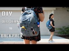 DIY リュックサック 作り方 ジーンズ /ワイヤー入りWire/ Zippered backpack by old jeans remake denim 口金 - YouTube