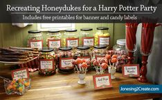 Free banner and candy labels for Honeydukes for Harry Potter Party