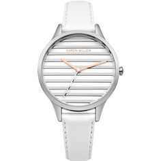 Karen Millen STRIPED DIAL LEATHER WATCH (275 PEN) ❤ liked on Polyvore featuring jewelry, watches, leather jewelry, karen millen watches, karen millen jewellery, leather watches and polish jewelry