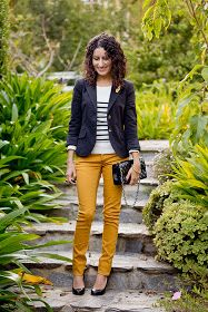 A splash of colour and a breton striped top, so chic!