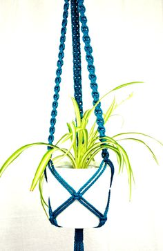 Teal long modern macrame plant hanger by TheVintageLoop on Etsy, $27.00
