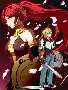 RWBY - Pyrrha and Jaune by sakamotoseiyaku. Full Metal Alchemist, Rwby Anime, Rwby Fanart, Log Horizon, Teen Titans, Rwby Jaune, Rwby Pyrrha, Rwby Rose, Pyrrha Nikos