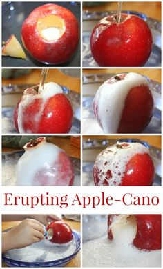 Erupting apple science for fall STEM and baking soda science. Make an apple volcano for fall STEM. Apple science experiments are perfect for preschool science, kindergarten science, and early elementary age science activities. Kid Science, Science Experiments Kids, Elementary Science, Physical Science, Science Projects, Science Ideas, Science Classroom, Science Education, Earth Science