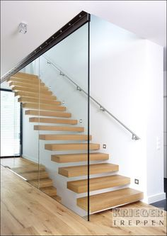 23 Ideas for stairs railing ideas stainless Open Stairs, Glass Stairs, Concrete Stairs, Glass Railing, Floating Staircase, Modern Staircase, Staircase Design, Basement Stairs, House Stairs