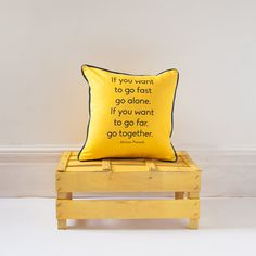 Typography cushion/ pillow yellow with contrast by BespokeBinny