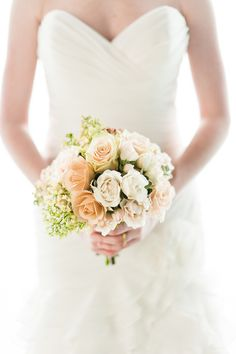white rose wedding bouquet by
