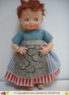 """Pedigree Delite 6"""" doll. Finger/thumb pointing hand formation. Early 1950s Bad hair day tho!!!"""