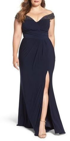 157dc2c3d4d Plus Size Off the Shoulder Gown Plus Size Dresses