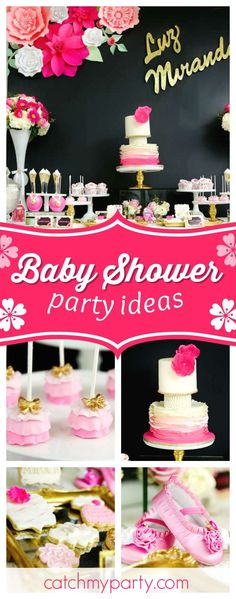Don't miss this gorgeous pink and black floral baby shower! The cake pops are amazing!! See more party ideas and share yours at CatchMyparty.com #babyshower #flowers