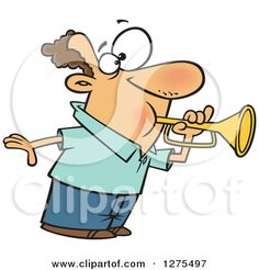 Cartoon Clipart of a Caucasian Man Tooting a Horn - Royalty Free Vector…