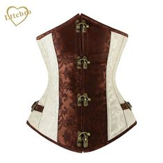 #BlackFriday is coming early #BestPrice #CyberMonday Brown and Lvory Underbust Corset Goth Buckle Highest Quality Flowers Pattern Steampunk…