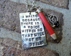 The Writer, Sylvia Plath Quote, Necklace