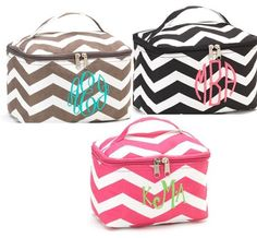 Personalized Mini Cosmetic Makeup Bag - Chevron, Zebra, Grey Floral and Tutti Frutti - Embroidered Monogram or Name