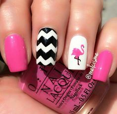 Black & White Chevron with pink Flamingo nails! So fun for summer by IG user Melcisme Cruise Nails, Vacation Nails, White Nails, Pink Nails, Nail Polish Designs, Nail Designs, Gell Nails, Summer Nails Neon, Flamingo Nails