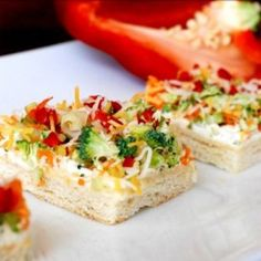Veggie Bars are a great food to serve at any party. Think baby showers, game day food, or dinner parties. They are sure to be a hit!