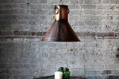 The Verne Light Fixture Reclaimed Metal Antique Copper Finish Pendant Light Commercial Fixture Boho Industrial