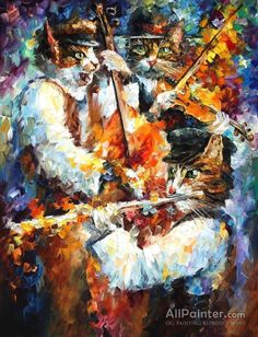 Leonid Afremov Jamming Cats 3 oil painting reproductions for sale Modern Art Deco, Modern Wall Art, Oil Painting On Canvas, Canvas Art Prints, Painting Art, Knife Painting, Oil Painting Reproductions, Leonid Afremov Paintings, Contemporary Paintings