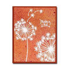 Orange Make a Wish Dandelion Card