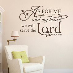 BATTOO As for me and my house,we will serve the Lord - Scripture Vinyl Lettering Bible Verse Spiritual Religious Wall Decal(Dark Brown, XLarge) Vinyl Wall Quotes, Vinyl Wall Art, Wall Decals, Prayer Room, Prayer Closet, My Living Room, Living Room Decor, Wall Writing, Vinyl Lettering