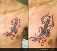 """Custom tattoo : TRIŚHŪLA is a type of South Asian trident meaning """"three…"""