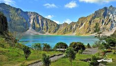 Pinatubo Crater Lake in Pampanga, Filipinas Visit Philippines, Cambodia Travel, Crater Lake, Travel Destinations, Waterfall, Places To Visit, River, Mountains, Awesome