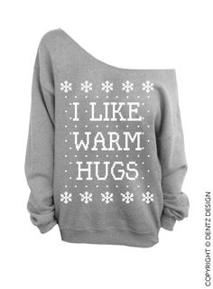 I Like Warm Hugs Ugly Christmas Sweater Gray by DentzDesign