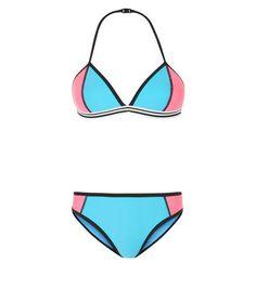 Teens Blue Contrast Trim Scuba Bikini