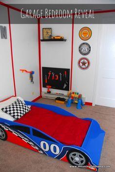 Race Car Garage Room - Any Little Boy's Dream Room - great inexpensive DIY ideas