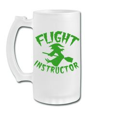 witch on a broomstick flight instructor HALLOWEEN Frosted Glass Beer Mug | Spreadshirt | ID: 13312369