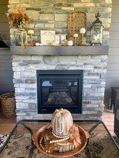 Neutral Fall Mantel Decor - The House on Silverado Large Lanterns, Lanterns Decor, Fall Home Decor, Autumn Home, Three Season Porch, Faux Pumpkins, Fall Mantel Decorations, Fall Diy, Fireplace Mantels