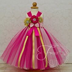 Princess Birthday Outfit Hot Pink and Gold by FourSweetHeartsTutus
