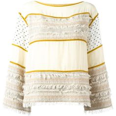 See By Chloé fringed patchwork top ($310) ❤ liked on Polyvore featuring tops, see by chloé, bateau neckline tops, fringe tops, see by chloe top and long white top