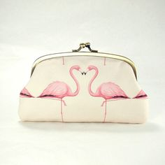 Double coin purse / Pink Flamingos / two by ElevenRoosters on Etsy, $45.00